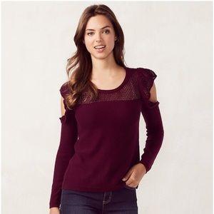 Lauren Conrad Ruffle Cold Shoulder Sweater